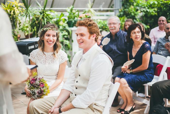 Cracking jokes during the wedding ceremony.