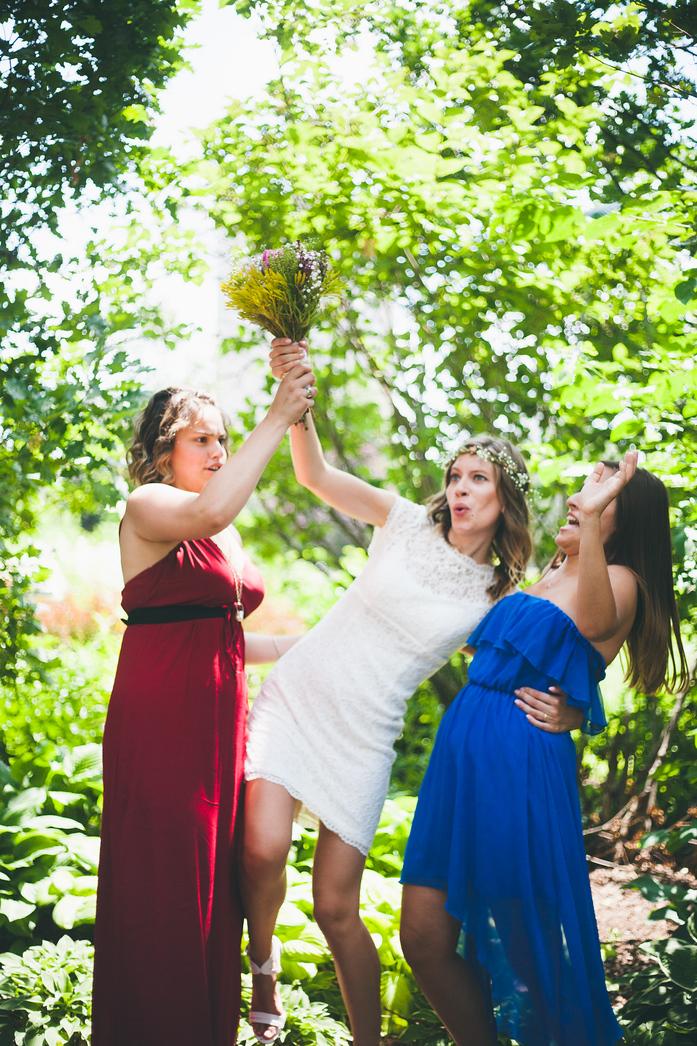 Arielle's heels were sinking. My heels were sinking. Ashley was saving the bouquet.