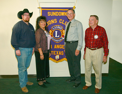 Sundown Lions Club inducted new members Thursday, Jan 23, 2009.  Pictured (left to right) are new Lion David Banskter, new Lion Beatrice Ramsey, Lion Ebb Grindstaff and new Lion David Busker.  The Sundown Lions meets weekly at 6:30 a.m. at Roxy's Diner, 4609 S. Jackson, San Angelo.