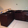 Cabinets and bar wall framed