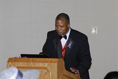 Christopher Herring speaking at the Joy Keeper Ball to celebrate Breast Cancer patient survival in San Antonio Texas.
