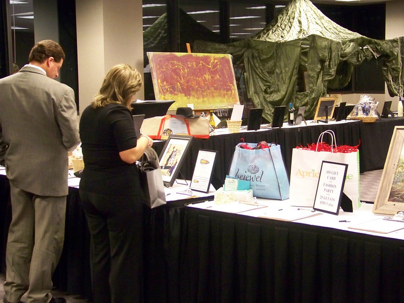 The table auction was a success at the 2009 Muster for the Military event.