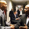 Bruce Bowen (San Antonio Spurs) and Tony Leverett (Combined Federal Campaign/United Way) meet.