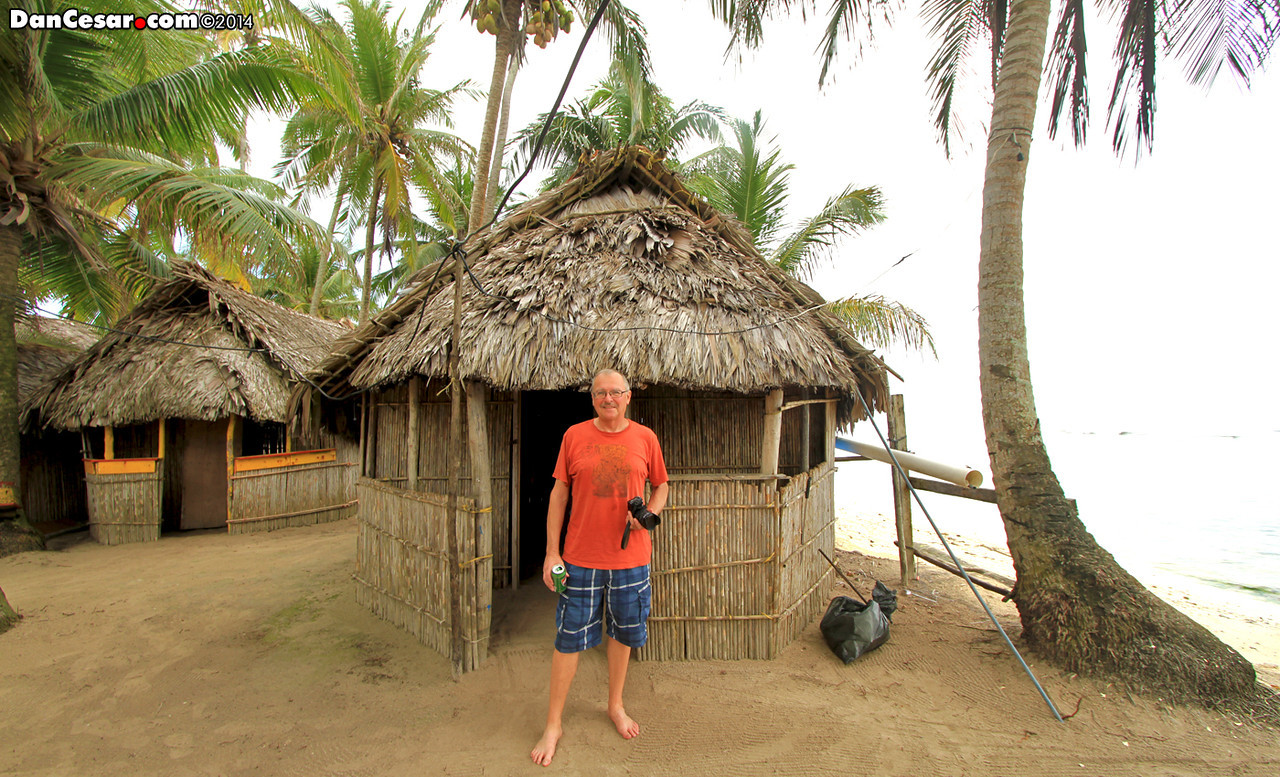 Dan in front of our hut