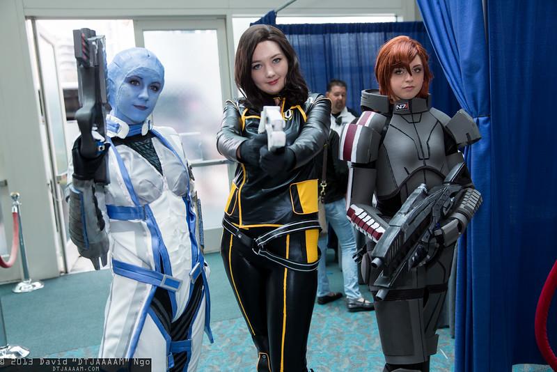 Liara T'Soni, Miranda Lawson, and Commander Shepard