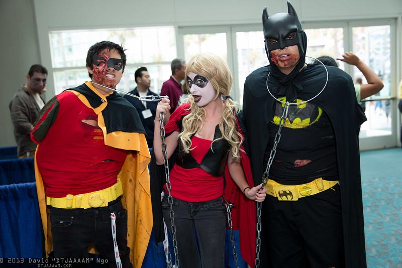 Robin, Harley Quinn, and Batman