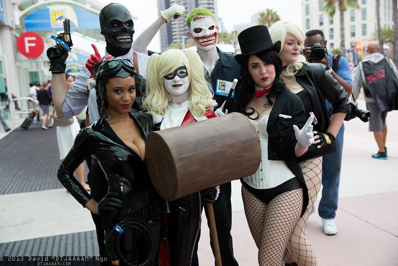 Black Mask, Catwoman, Joker, Harley Quinn, Zatanna, and Black Canary