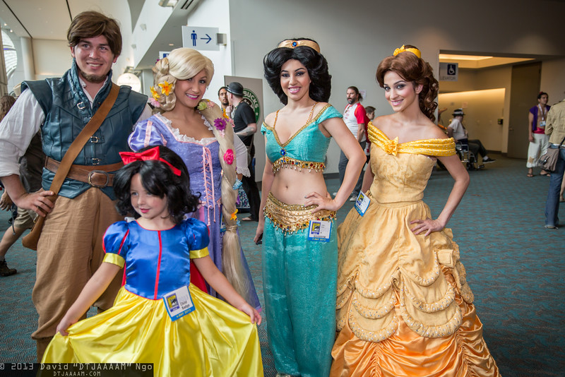 Flynn Rider, Snow White, Rapunzel, Princess Jasmine, and Belle