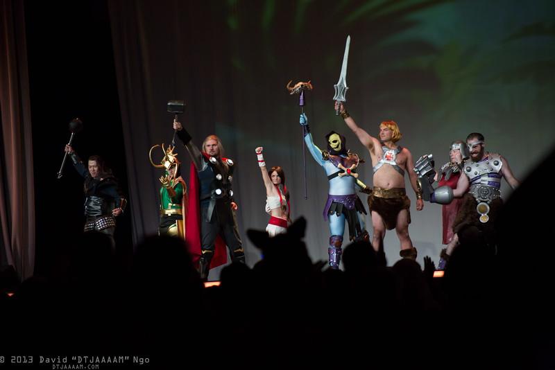 Hogun, Loki, Thor, Sif, Skeletor, He-Man, Ram Man, and Fisto