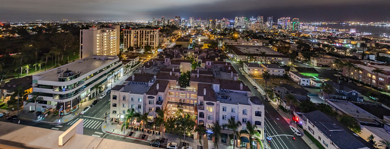 Downtown San Diego at Night - Seen from the top of Mister A's Restaurant