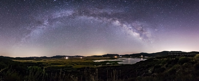 Another Panorama of the Milky Way Arch Over Lake Henshaw