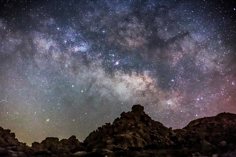 Milky Way Over Alien Rocky Desert Landscape