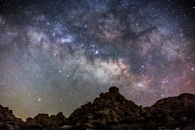Milky Way Over Alien Rocky Desert Landscape