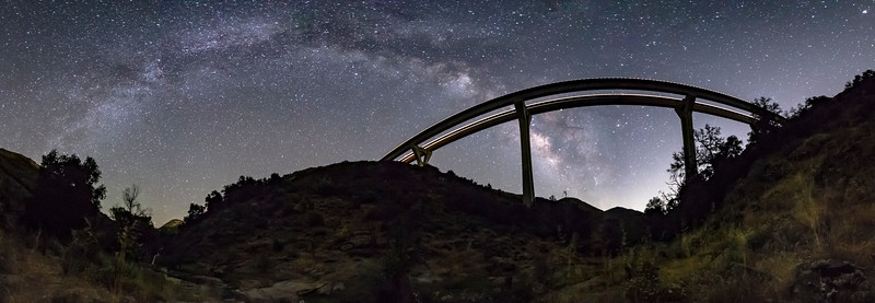 Pine Valley Creek Bridge and the Milky Way arch.