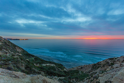 Torrey Pines Gliderport Blue and Pink Sunset. 1 of 4.