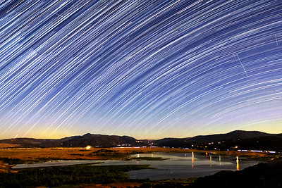 Perseids, Iridium Flares, and Star Trails Over Lake Henshaw