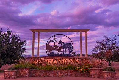 Ramona Sign Under a Periwinkle Sky at Sunset - different angle and closer crop