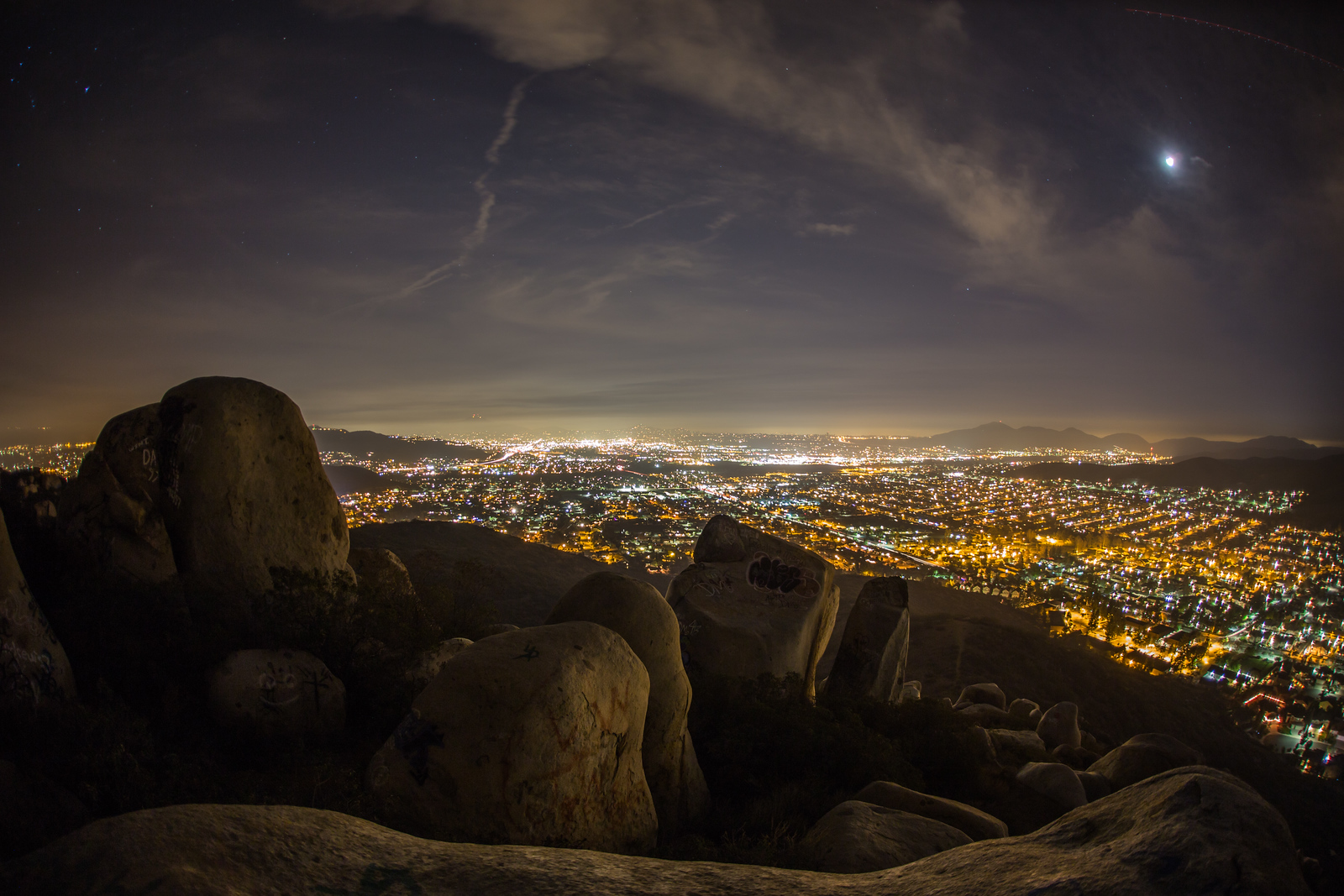 Rocks atop a mountain at night.