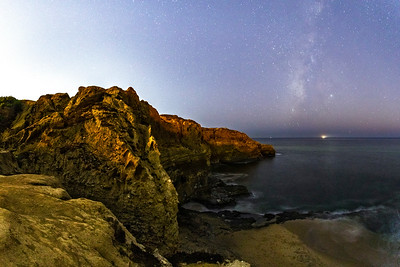 Milky Way Off The Coast Of San Diego At Sunset Cliffs