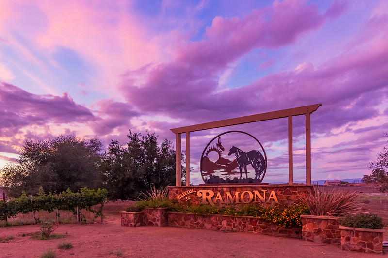 Ramona Sign Under a Periwinkle Sky at Sunset