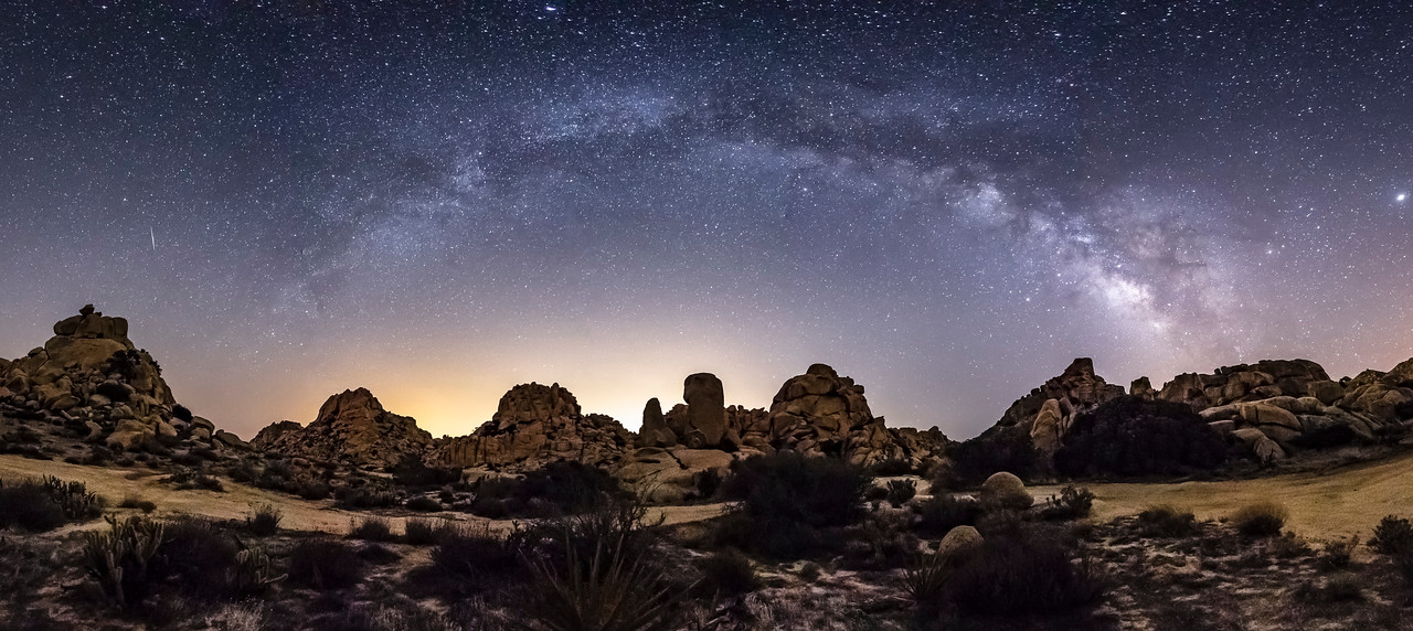 Milky Way Arch Panorama Over Alien Desert Landscape