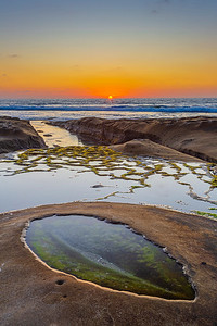 Sunset Over Tidepools At Hospitals Reef in La Jolla.