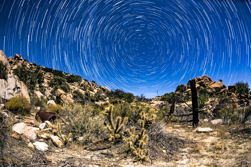 Star Trails in Valley of the Moon in Jacumba, California