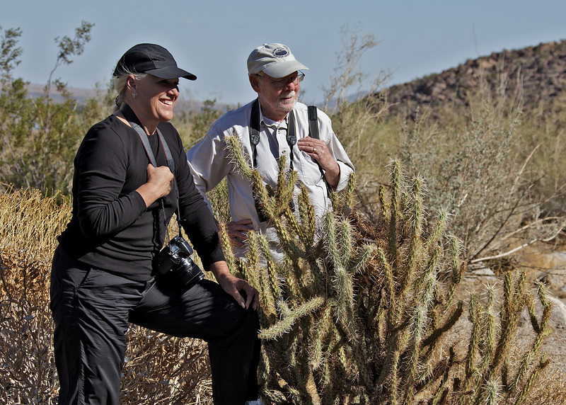 Joan Embery and Frank Todd inspecting the Cactus Wren nest.<br /> Palm Canyon Campground