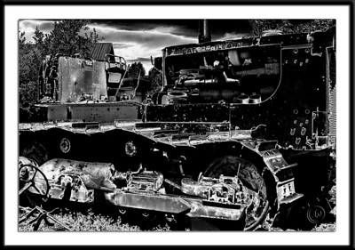 Caterpillar tractor in high-contrast solarization