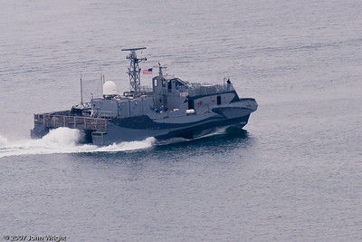 """""""Sea Slice"""", the Navy's test platform for SWATH (Small waterplane area twin hull) technology"""