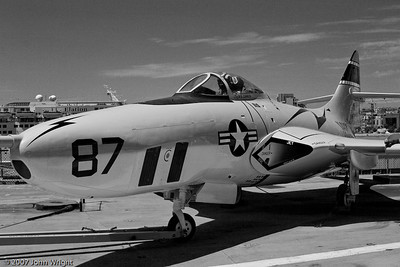 F9F-8P Cougar photo reconnaissance aircraft on the USS Midway