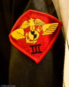 Third Marine Aircraft Wing patch on Jerry Coleman's jacket