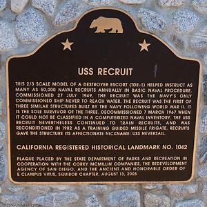 Historical landmark marker at the USS RECRUIT