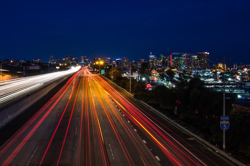 I-5 south and the San Diego city skyline