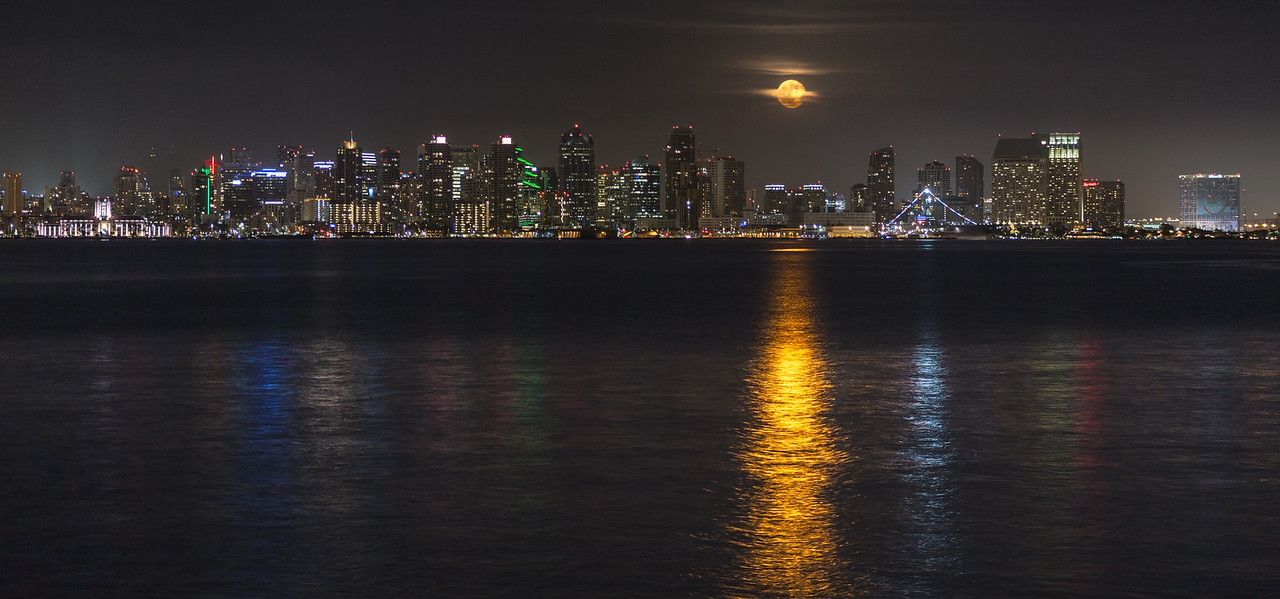 Partly Cloudy Full Moon Rises Over San Diego