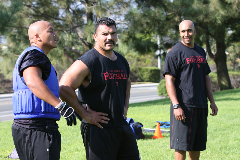 Jerry Weary (DB), Ignasio Bravo (DL), and Marvin Duncan (DB) participate in a pre-season mini-camp.