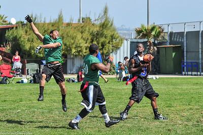 Catching a pass, running for a touchdown.