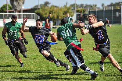 Running for a touchdown.