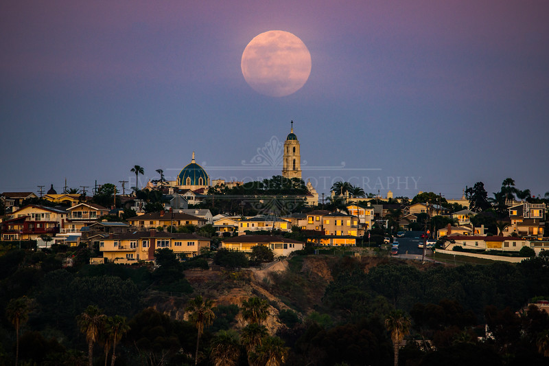 "Full ""Pink"" Moon Over The University of San Diego"