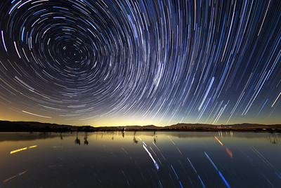 Star Trails Over Lake Henshaw
