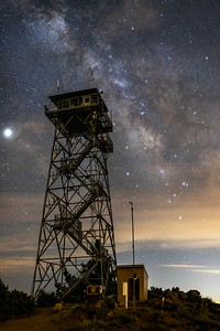 Partly Cloudy Milky Way Over Highpoint Fire Lookout