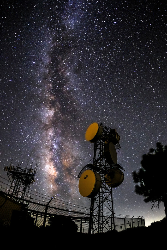 Milky Way and Antennas Atop Mount Laguna