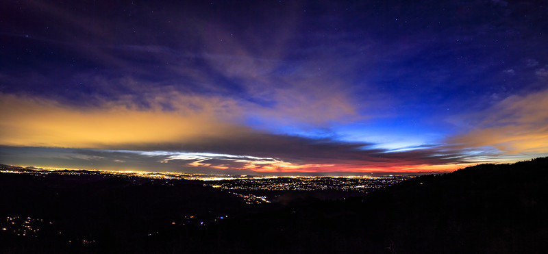 Twilight view of northern San Diego County from Palomar Mountain