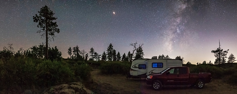 Camping Among the Pine Trees and Milky Way In Mount Laguna