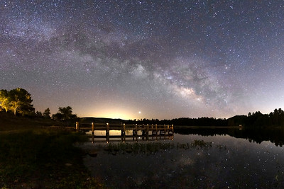 Milky Way Over a Pier at Lake Cuyamaca.