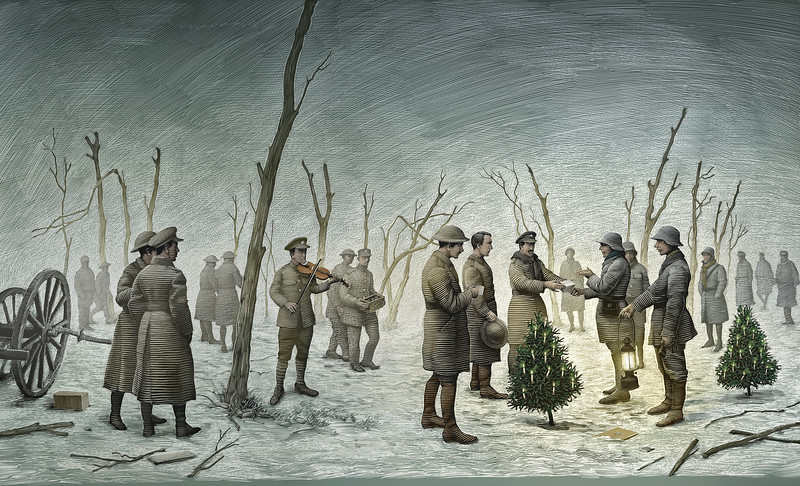 San Diego Opera presents ALL IS CALM: THE CHRISTMAS TRUCE OF 1914, a co-production with Bodhi Tree Concerts and SACRA/PROFANA, December 7, 8, and 9m, 2018. Part of the Detour Series. Illustration by Scott McKowen.