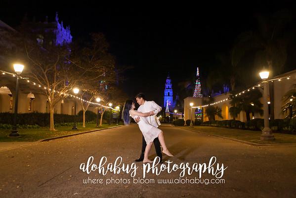 Balboa Park Engagement Photos at Night by AlohaBug Photography
