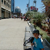 Petco Park with the Central Library dome in the background.