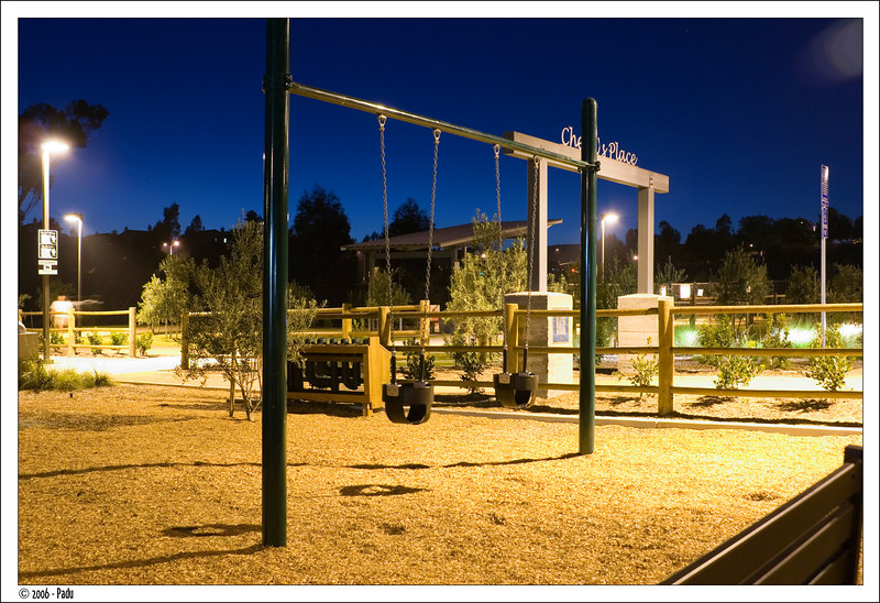 At night, all the swings are empty.