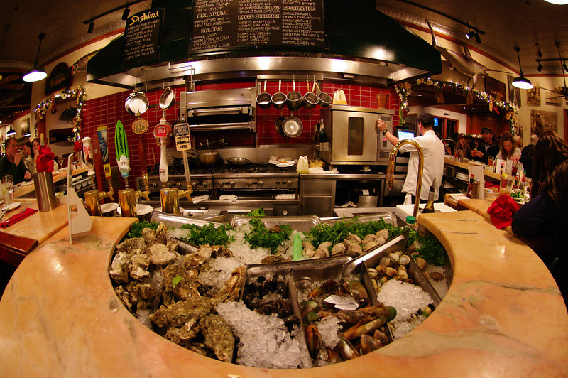 A fish eye view of the Fish Market oyster bar.